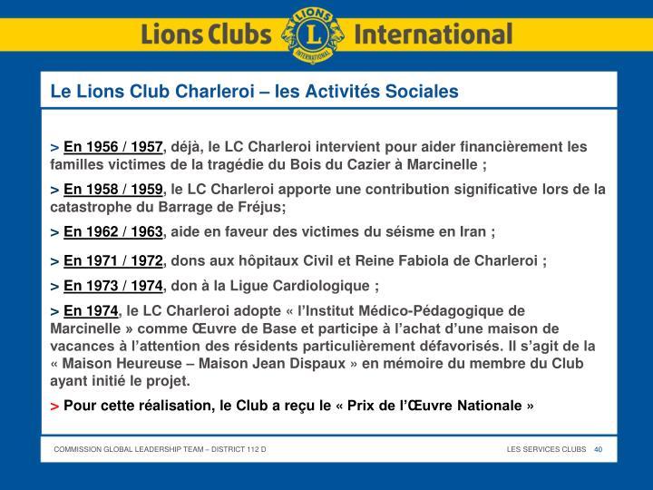 Le Lions Club Charleroi – les Activités Sociales