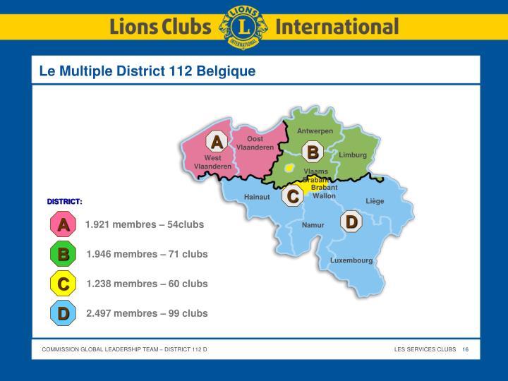 Le Multiple District 112 Belgique