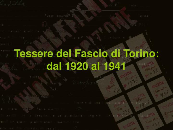 Tessere del Fascio di Torino: