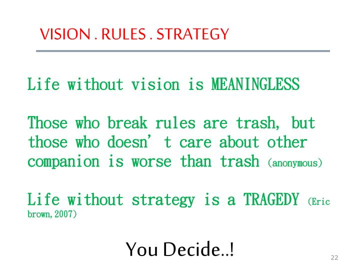VISION . RULES . STRATEGY