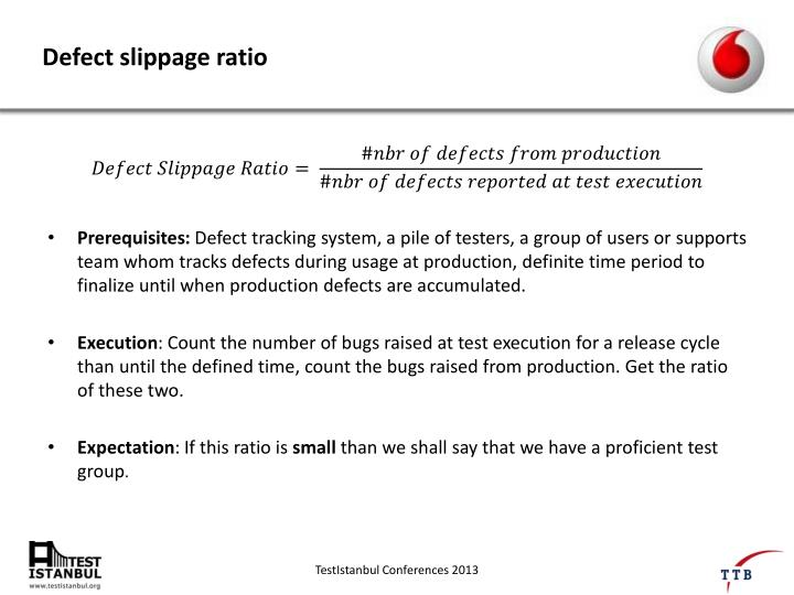 Defect slippage ratio