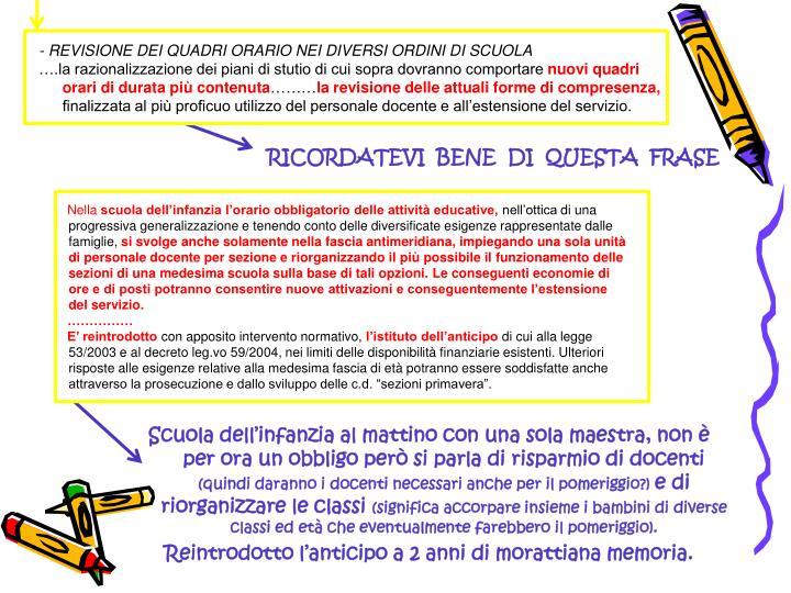 - REVISIONE DEI QUADRI ORARIO NEI DIVERSI ORDINI DI SCUOLA