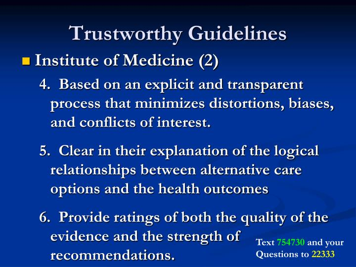 Trustworthy Guidelines