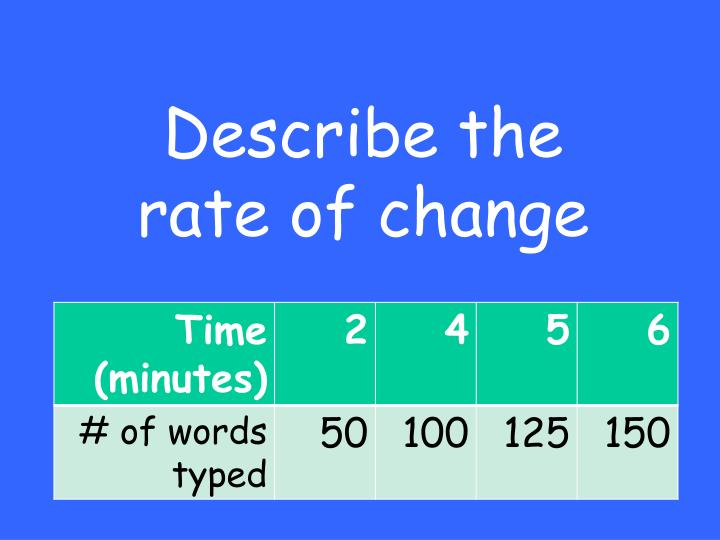 Describe the rate of change