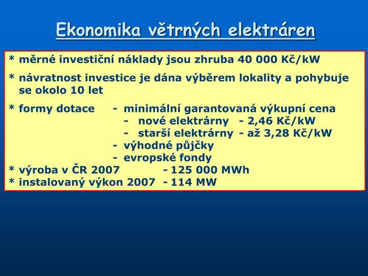 Ekonomika větrných elektráren