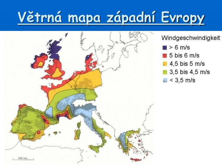 Větrná mapa západní Evropy