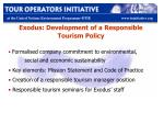 exodus development of a responsible tourism policy