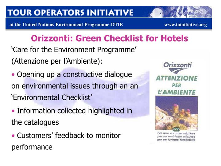 Orizzonti: Green Checklist for Hotels