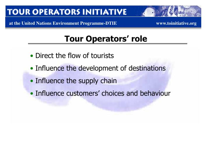 Tour Operators' role