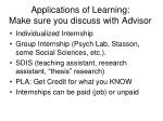 applications of learning make sure you discuss with advisor