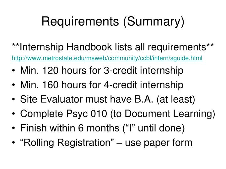 Requirements (Summary)