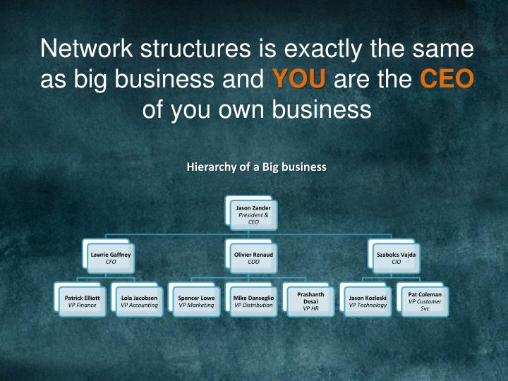 Network structures is exactly the same as big business and