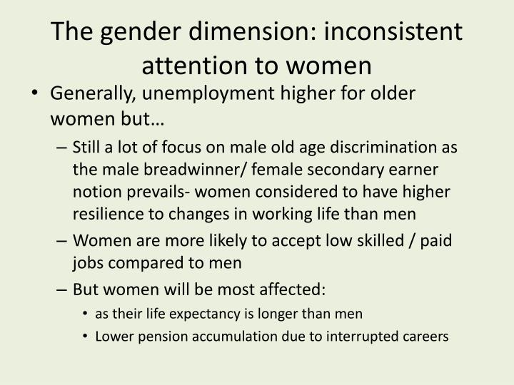 The gender dimension: inconsistent attention to women