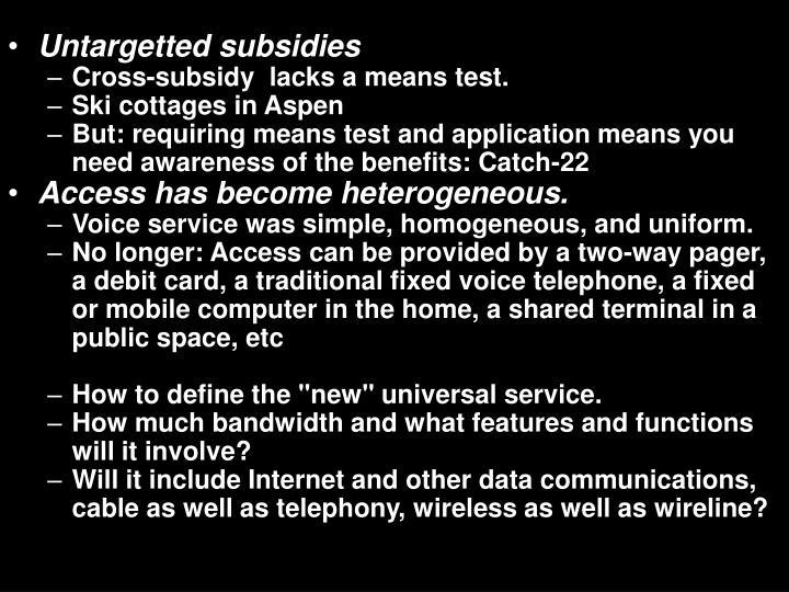 Untargetted subsidies
