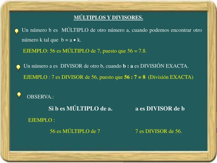 MÚLTIPLOS Y DIVISORES.