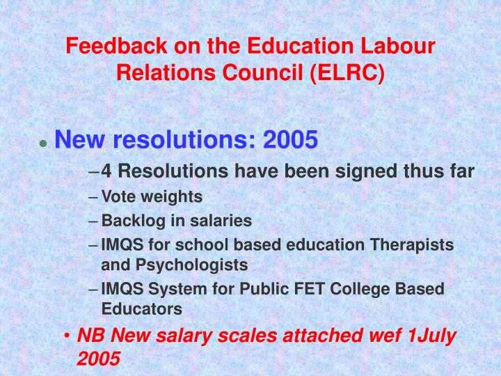 Feedback on the Education Labour Relations Council (ELRC)
