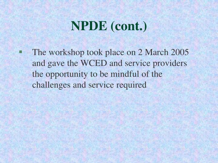 NPDE (cont.)