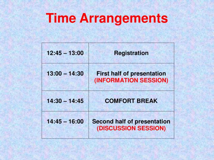 Time arrangements