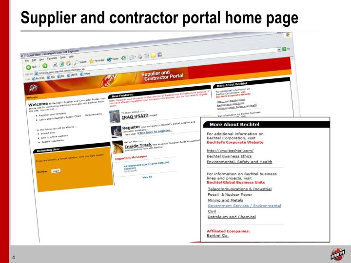 Supplier and contractor portal home page