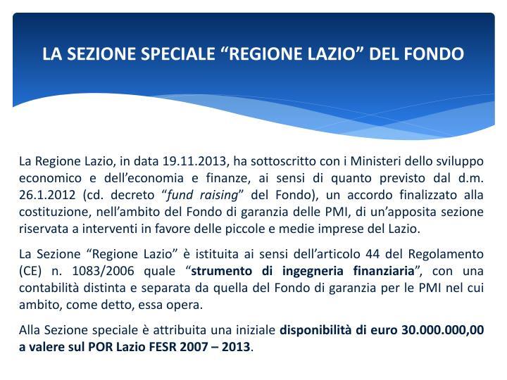 """LA SEZIONE SPECIALE """"REGIONE LAZIO"""" DEL FONDO"""