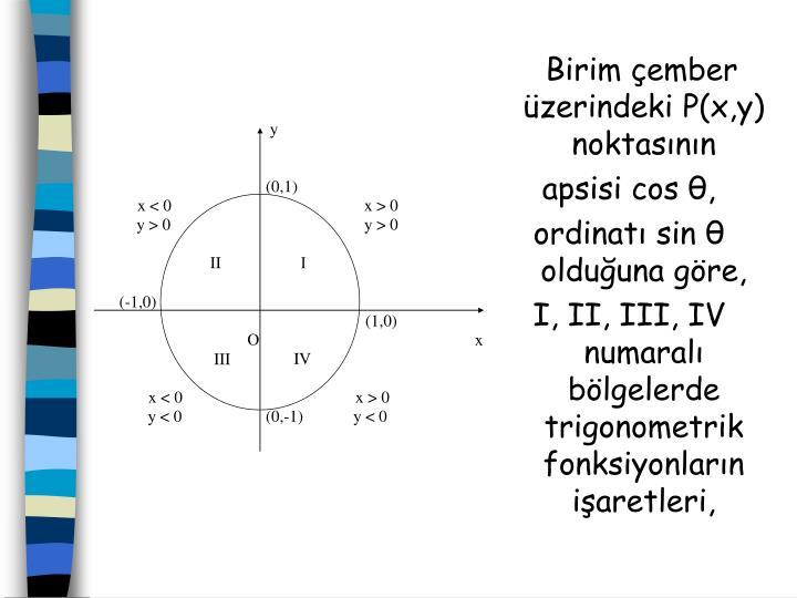 Birim ember zerindeki P(x,y) noktasnn