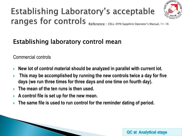 Establishing Laboratory's acceptable ranges for controls