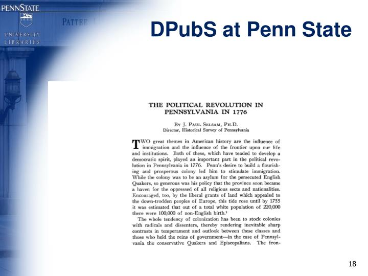 DPubS at Penn State