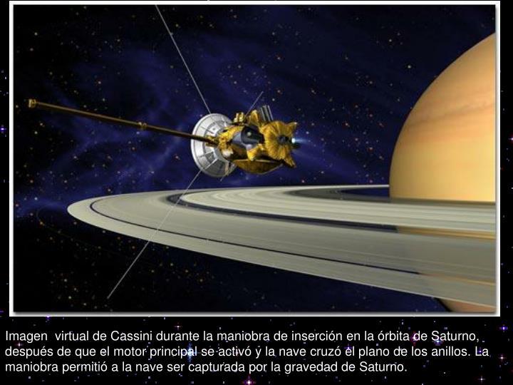 Imagen  virtual de Cassini durante la maniobra de inserción