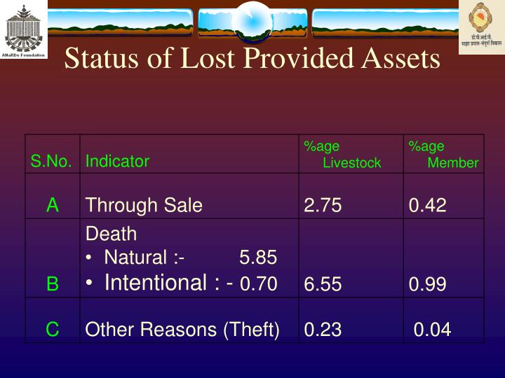 Status of Lost Provided Assets