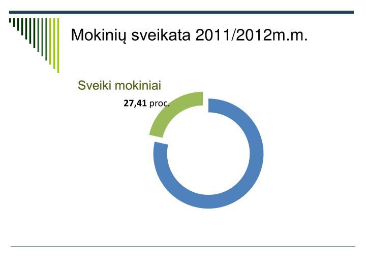 Mokinių sveikata 2011/2012m.m.