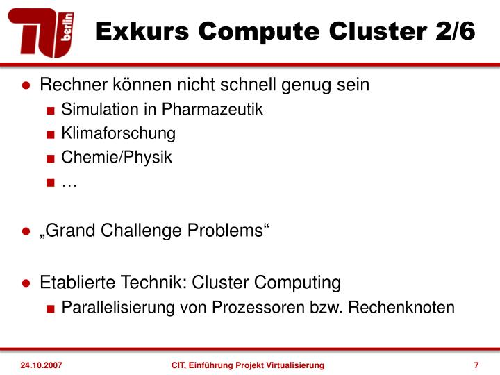 Exkurs Compute Cluster 2/6