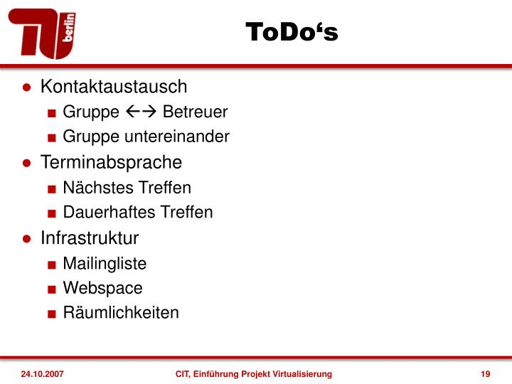ToDo's