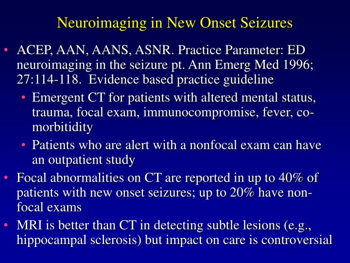 Neuroimaging in New Onset Seizures