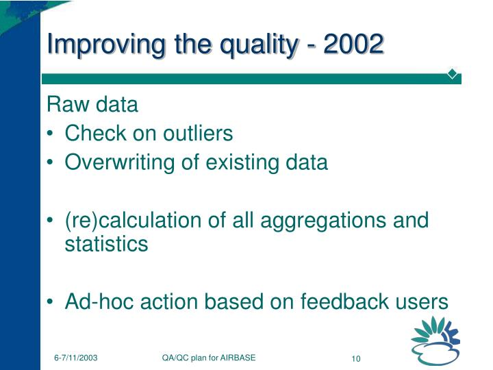 Improving the quality - 2002