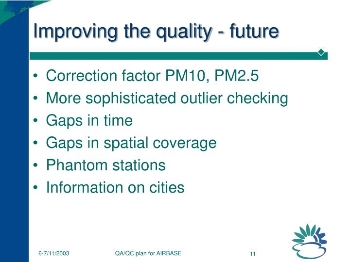 Improving the quality - future