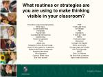 what routines or strategies are you are using to make thinking visible in your classroom