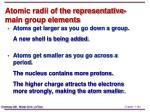 atomic radii of the representative main group elements