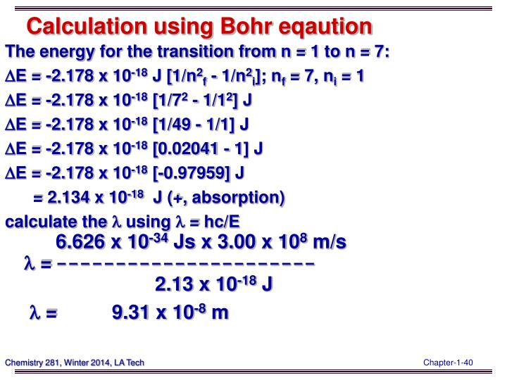 Calculation using Bohr