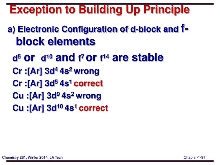 Exception to Building Up Principle