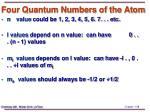 four quantum numbers of the atom
