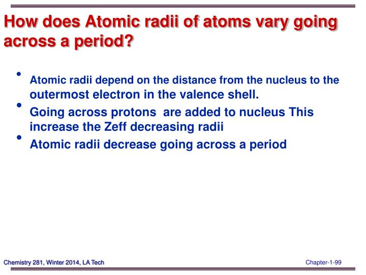 How does Atomic radii of atoms vary going across a period?
