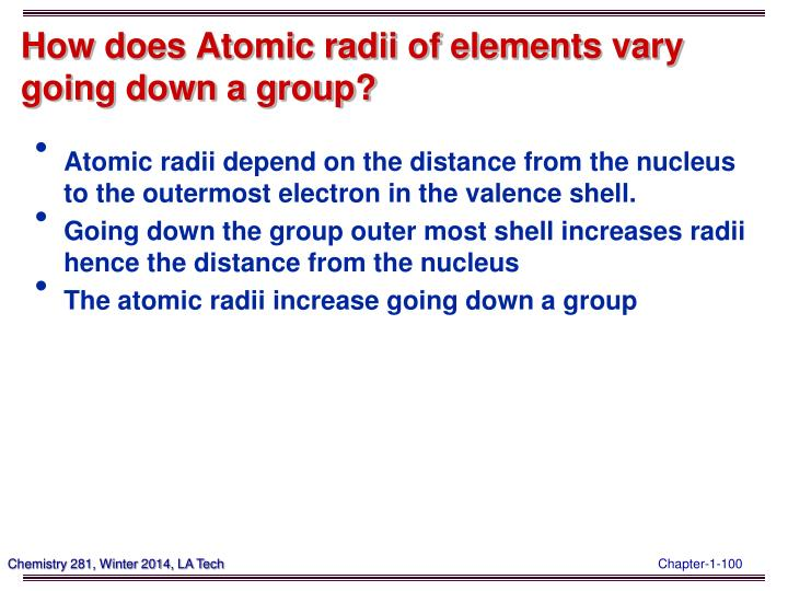 How does Atomic radii of elements vary going down a group?