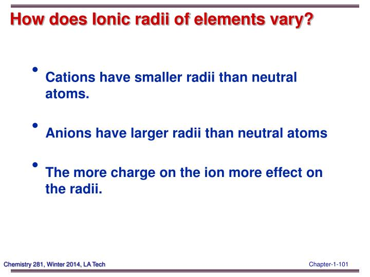 How does Ionic radii of elements vary?