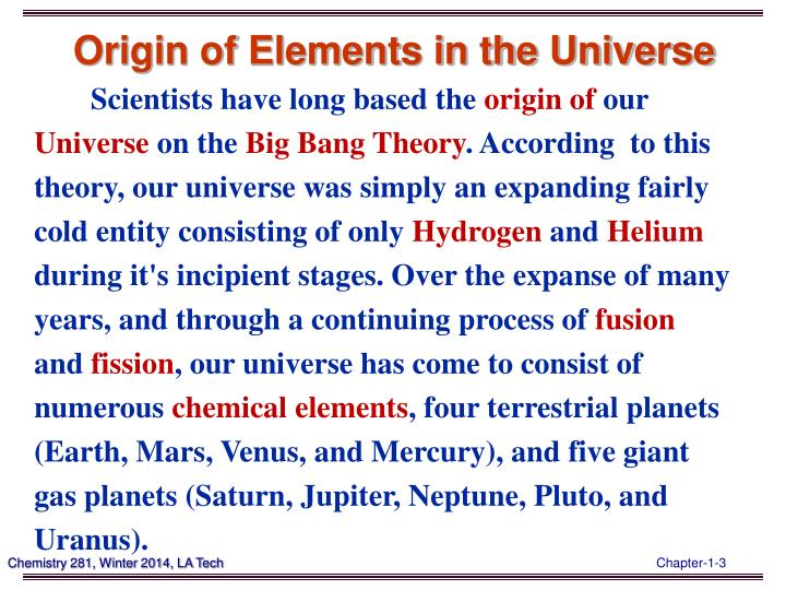 Origin of Elements in the Universe