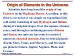 origin of elements in the universe