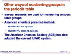 other ways of numbering groups in the periodic table