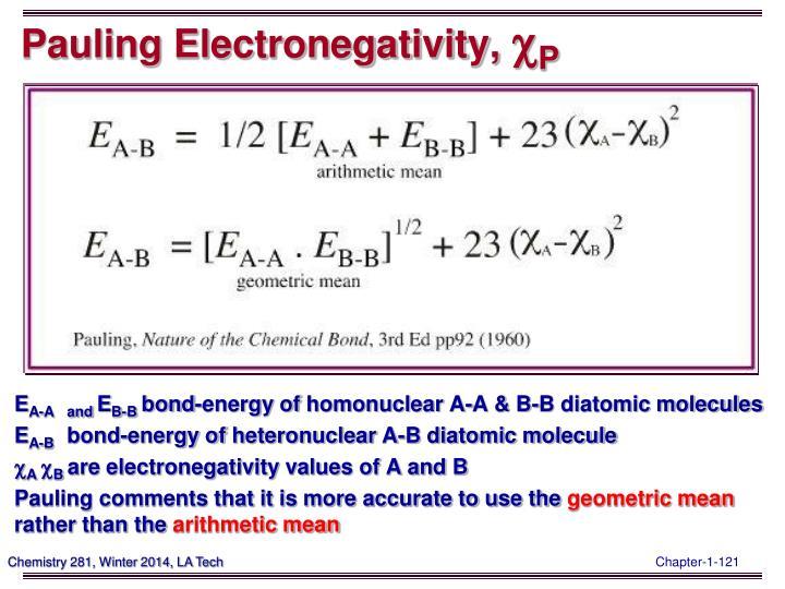 Pauling Electronegativity,