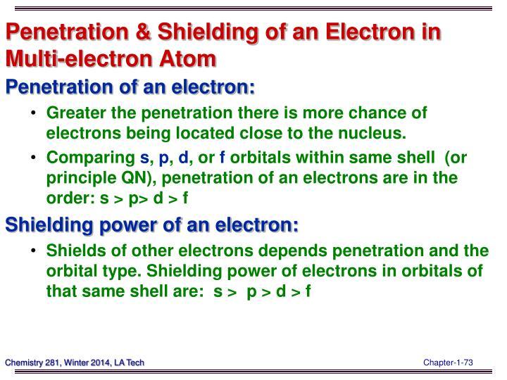 Penetration & Shielding of an Electron in Multi-electron Atom