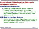 penetration shielding of an electron in multi electron atom