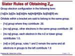 slater rules of obtaining z eff